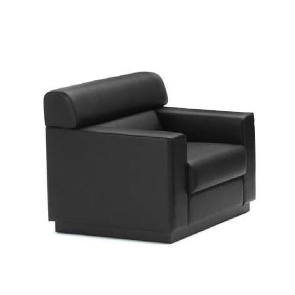 内田洋行 ウチダ UCHIDA 応接用家具 RM-56シリーズ 本革張り 応接セット RM-562・両肘チェア ブラック W870×D810×H760mm 6-272-4920
