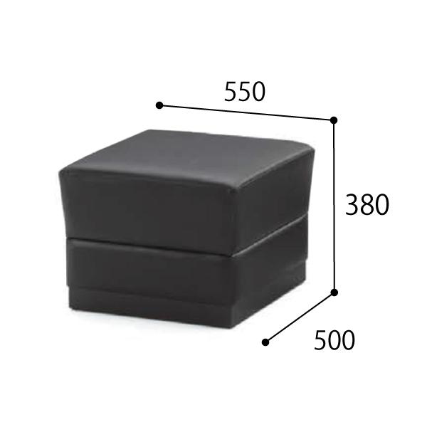 内田洋行 ウチダ UCHIDA 応接用家具 RM-56シリーズ 本革張り 応接セット RM-566・スツール W550×D500×H380mm 6-272-4960