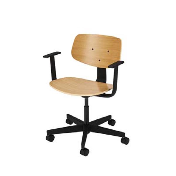ウチダ オープンコミュニケーションファニチュア MU chair MU-151BNA 5本回転脚 ヌード 肘付 5-342-1510