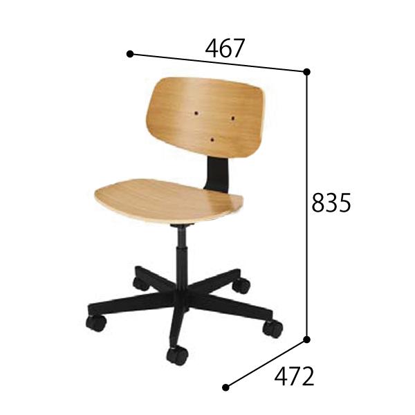 ウチダ オープンコミュニケーションファニチュア MU chair MU-150BN 5本回転脚 ヌード 肘なし 5-342-1500