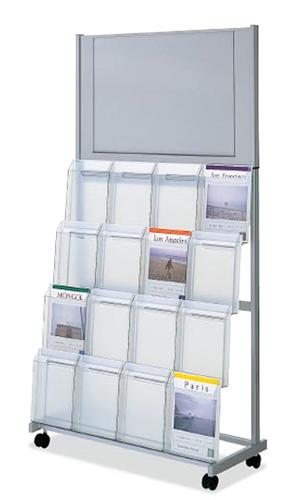 コクヨ KOKUYO パンフレットスタンド パンフレットラック A4サイズ トレータイプ 片面4列4段 A2ポスター掲示板付き ZR-PSP64NN