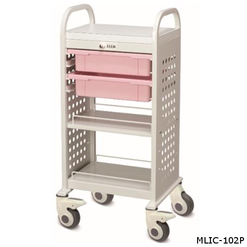 ミヤナリ 薬剤保管庫 Medi-LOCKカート(与薬用) ダイヤル錠タイプ 深型2段 W520xD430xH1000 MLIC-102W/MLIC-102P/MLIC-102V