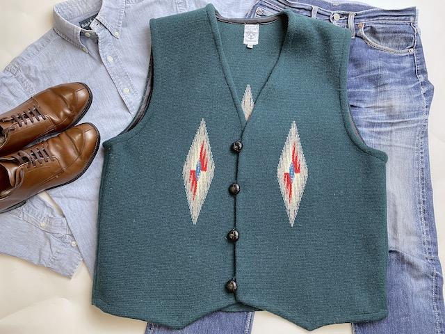 【限定生産ビッグサイズ&カラー】 Ortega's オルテガ 手織りチマヨベスト 83RG-5013 サイズ50 ティールグリーン