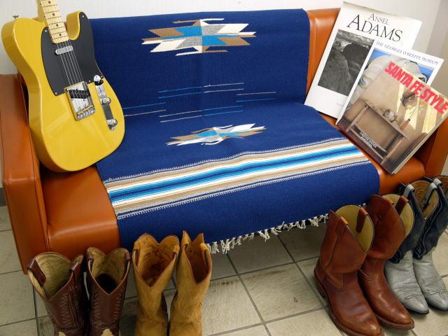 【限定生産カラー】 Ortega's オルテガ 手織りチマヨブランケット 843060-009 75x150cm ネイビーブルー