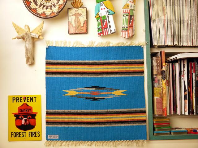 Ortega's オルテガ 手織りチマヨブランケット 842020-060 50x50cm ターコイズブルー ※動画あり