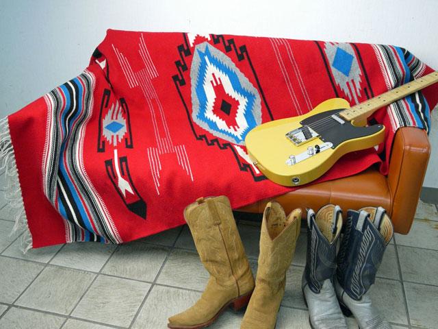 【当店オリジナル】 MK-WORK-092 『ヴィンテージ・チマヨ・スタイル』ブランケット 1795 x 1065 mm スカーレットレッド
