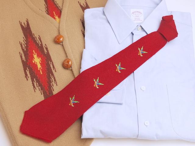 THE OLD MEXICO SHOP VWT-058 ビンテージ手織りウールネクタイ マガモx4 手縫い刺繍入り レッド