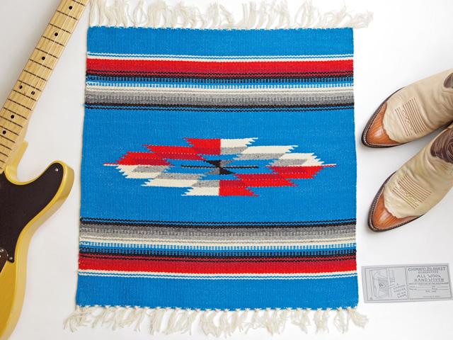 Ganscraft デッドストック・チマヨ・ブランケット GB2020-012 50x50cm ターコイズブルー