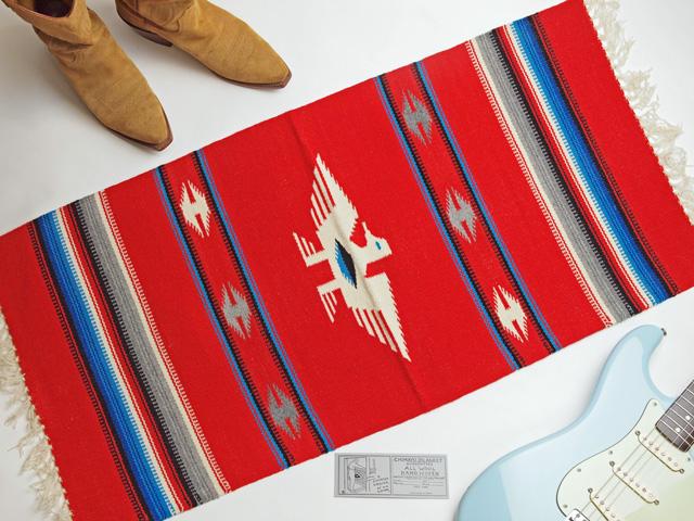 Ganscraft デッドストック・チマヨ・ブランケット GB2040-006 50x100cm スカーレットレッド サンダーバード・デザイン