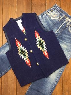 ナンベ・ウィーバー 手織りチマヨ・ベスト NW-V36018 スラント(Slant)フロント サイズ36 ダークネイビー