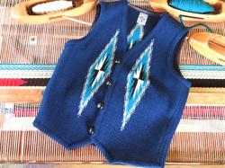 【限定生産カラー】 Ortega's オルテガ 手織りチマヨベスト 83RG-36317 サイズ36 ネイビーブルー