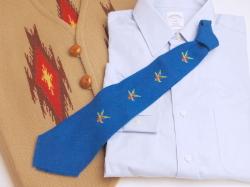 THE OLD MEXICO SHOP VWT-059 ビンテージ手織りウールネクタイ マガモx4 手縫い刺繍入り ロイヤルブルー
