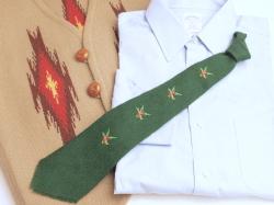 THE OLD MEXICO SHOP VWT-060 ビンテージ手織りウールネクタイ マガモx4 手縫い刺繍入り フォレストグリーン