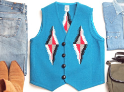 Ortega's オルテガ 手織りチマヨベスト 83RG-40297 サイズ40 ターコイズブルー