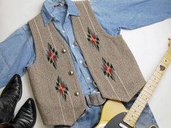 ナンベ・ウィーバー 手織りチマヨ・ベスト NW-V38014 ポインテッドフロント サイズ38 ピーカンヘザー