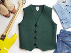【限定生産ファブリック】 Ortega's オルテガ 手織りチマヨベスト 83RG-36305 サイズ36 無地フォレストグリーン