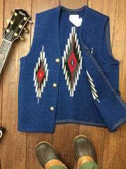 ナンベ・ウィーバー 手織りチマヨ・ベスト NW-V36017 スラント(Slant)フロント サイズ36 ネイビーブルー