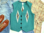 Ortega's オルテガ 手織りチマヨベスト 83RG-40319 サイズ40 エメラルドグリーン