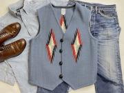 Ortega's オルテガ 手織りチマヨベスト 83RG-42133 サイズ42 サックスブルー