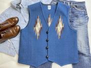 【限定生産ビッグサイズ】Ortega's オルテガ 手織りチマヨベスト 83RG-4817 サイズ48 ロイヤルブルー
