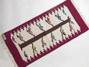 【限定生産デザイン&カラー】 Ortega's オルテガ 841530-131 手織りチマヨブランケット 38x76cm 『トゥリー・オブ・ライフ』 ワインレッド(限定色)