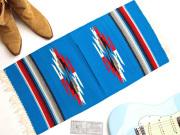 Ganscraft デッドストック・チマヨ・ブランケット GB1530-021 38x76cm ターコイズブルー