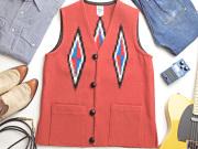 Ortega's オルテガ 手織りチマヨベスト 83SQ-38107 スクエアフロント・タイプ サイズ38 テラコッタ