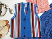 【限定生産サイズ】 Ortega's オルテガ 手織りチマヨ・ベスト 83JR-3240 ボーイズタイプ サイズ32 ロイヤルブルー ※動画あり