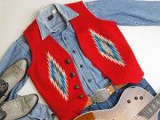 【フロント配色ミス 30%OFF!】  Ortega's オルテガ 手織りチマヨ・ベスト 83RG-36293 サイズ36 スカーレットレッド