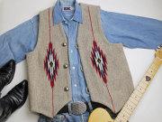 ナンベ・ウィーバー 手織りチマヨ・ベスト NW-V38018 ポインテッドフロント サイズ38 オートミールグレー