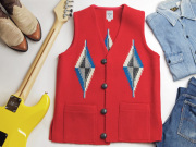 Ortega's オルテガ 手織りチマヨベスト 83SQ-3683 スクエアフロント・タイプ サイズ36 スカーレットレッド