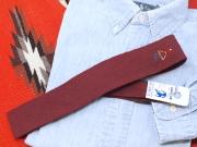 Apache CRAVAT(アパッチ・クラバット) VWT-044 1950年代後半 手織りスクエアエンド・ウールタイ 手縫いレインクラウド刺繍入り デンバーミュージアム・ダブルネーム ペーパータグ付 ダークマルーン