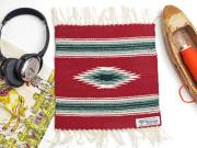 Ortega's オルテガ 841010-971 手織りチマヨブランケット 25x25cm カーディナルレッド
