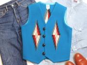 Ortega's オルテガ 手織りチマヨベスト 83RG-36324 サイズ36 ターコイズブルー