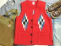 オルテガ 手織りチマヨベスト 83SQ-4227 スクエアフロント・タイプ サイズ42 スカーレットレッド