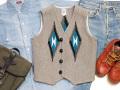 オルテガ 手織りチマヨベスト 83RG-36310 サイズ36 ヘザーグレー(前後反転の配色)