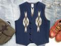 【限定生産カラー】オルテガ 手織りチマヨベスト 83RG-38366 サイズ38 ネイビーブルー