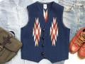 【限定生産カラー】オルテガ 手織りチマヨベスト 83RG-38367 サイズ38 ネイビーブルー