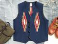 【限定生産カラー】オルテガ 手織りチマヨベスト 83RG-40299 サイズ40 ネイビーブルー(前後反転の配色)