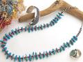 ナバホ 04-0116 パトリシア・レイズ作 オールド・キングマン・ターコイズ・ナゲット・ネックレス 全長69cm