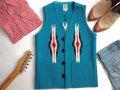 オルテガ 手織りチマヨ・ベスト 83DXSQ-3427 スクエアフロント・タイプ サイズ34 ターコイズブルー ※動画あり