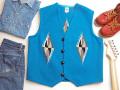 【限定生産ビッグサイズ】オルテガ 手織りチマヨ・ベスト 83RG-4811 サイズ48 ターコイズブルー