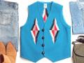 オルテガ 手織りチマヨベスト 83RG-40297 サイズ40 ターコイズブルー