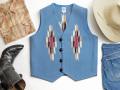 オルテガ 手織りチマヨ・ベスト 83RG-40279 サイズ40 サックスブルー