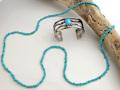 ナバホ 04-0112A リンダ・フレイザー作 オールド・キングマンターコイズ・ロングネックレス 全長 約960mm ブルー系