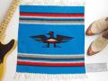 Ganscraft デッドストック・チマヨ・ブランケット GB2020-015 50x50cm ターコイズブルー サンダーバード・デザイン