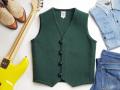 【限定ファブリック】オルテガ 手織りチマヨベスト 83RG-36305 サイズ36 無地フォレストグリーン