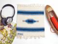 Ortega's オルテガ 841010-963 手織りチマヨブランケット 25x25cm ホワイト