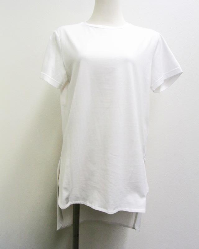 【Meraviglia(メラヴィリア)】 コットン ラウンドネック Tシャツ (ホワイト)
