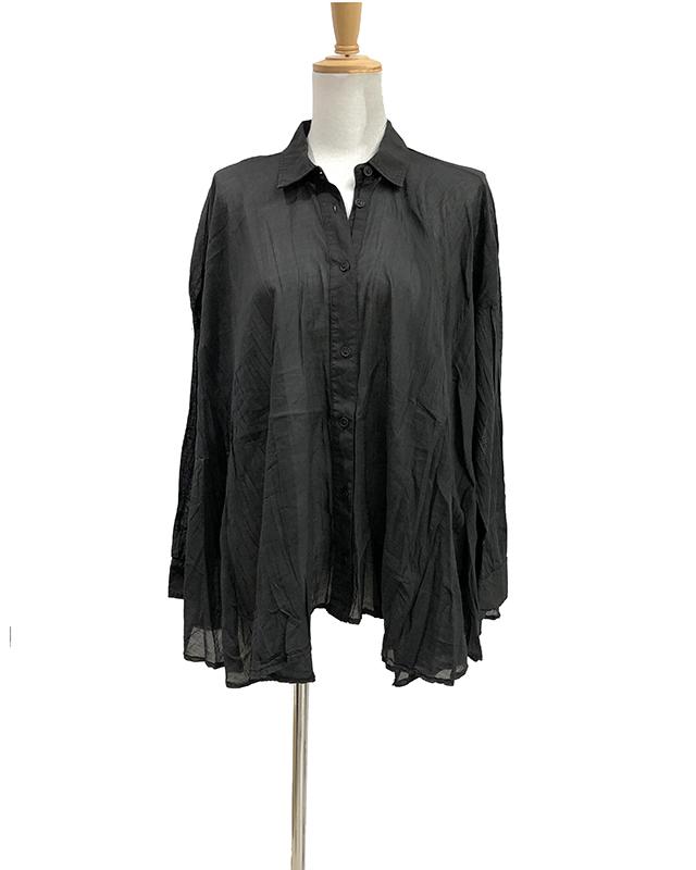 【EUROPEN CULTURE(ヨーロピアンカルチャー)】長袖フレア-ボイルシャツ(ブラック)